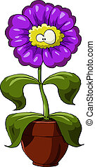 Flower - Cartoon flower on a white background, vector