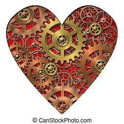 mechanical heart - Abstract image of the mechanical heart -...