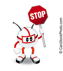 3d character holding stop sign