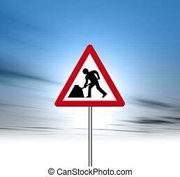 Road works road sign