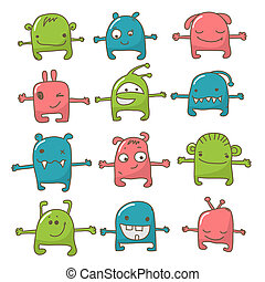 Monster hugs - Collection of 12 cute monster hugs doodle