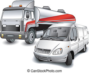 Lorry and minibus - Car for transportation oil and minibus...