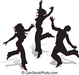 Silhouettes on white background - Silhouettes of dancing...