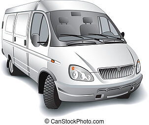 Minibus for passenger transportations on white background,...