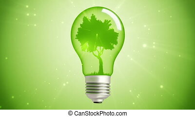 green energy bulb tree loop - green Tree Inside A spinning...