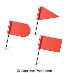 vermelho, bandeira, Alfinetes