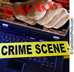 laptop  with yellow crime scene tape across and hacker fist