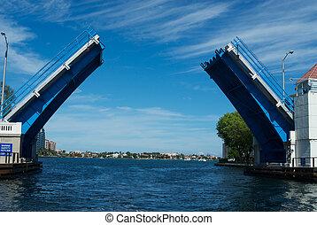 puente levadizo, encima, intercoastal, Canal, Boca, Raton,...