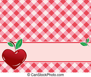 checkered background in red tones decorated with...