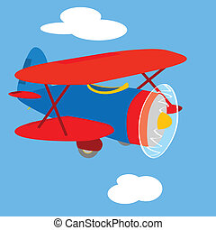 Vintage airplane - Cartoon illustration of an old red and...