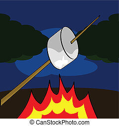 Roasting a marshmallow - Cartoon illustration of a...