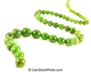 Green gemstone necklace jewlery, isolated towards white...