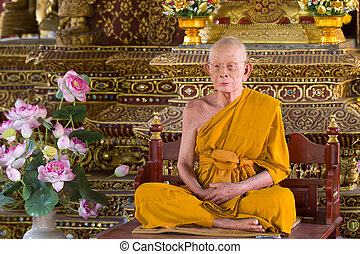 wax monk - fake wax monk sculpture in buddhist temple in...