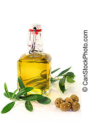 Olive oil - a bottle of olive oil and olive branch