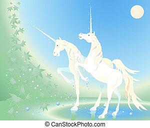 unicorn - an illustration of two unicorns standing in some...