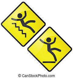 Slippery sign - Glossy illustration of slippery caution...