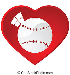 I love baseball - Glossy illustration of a baseball inside a...