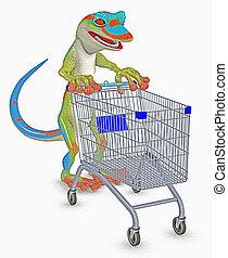 gecko, 買い物, 行く