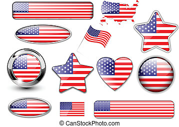 USA, North American flag buttons great collection,  vector.