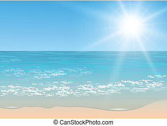 Vector tropical sea - Beach and tropical sea with sun,...