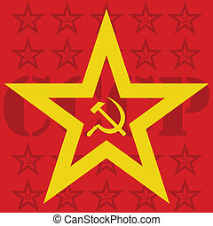 USSR hammer and sickle inside star - Illustration of USSR...