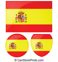 Spain flag and emblem - Illustration of the Spanish flag,...
