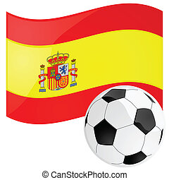 Spain soccer - Illustration of a soccer ball in front of the...