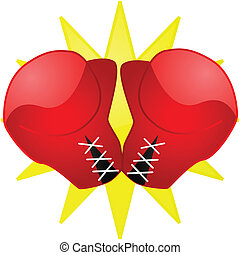Boxing gloves - Glossy illustration of a pair of red boxing...
