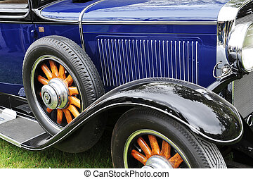 Old American car on  exhibition of old cars