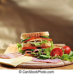 tasty sandwich - Fresh and tasty sandwich on wooden table