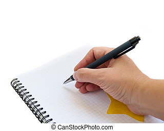 hand writing note in blank note book isolated