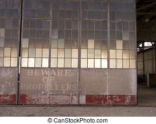 Hangar door - Airfield hangar door.