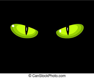 Green wild cat eyes - Green dangerous wild cat eyes in...