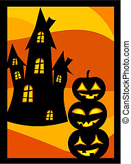 Halloween pumpkins and house - Halloween vector background...