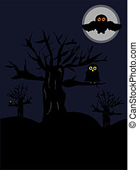 Night scenery - Night scary scenery with old trees and owls