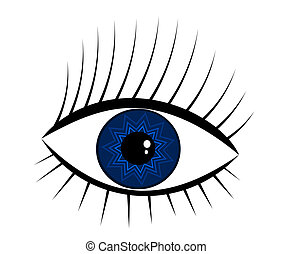 Navy-blue eye - navy-blue eye illustration. mysterious woman