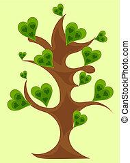 Fantasy tree with green hearts vector