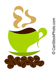 Steaming coffee illustration - Steaming coffee in green...
