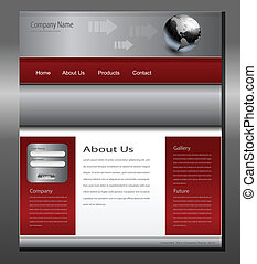 Website template grey red, editable vector