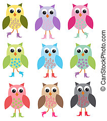 owls - colourful owls