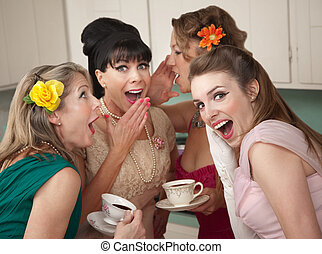 Woman Whispering Secret - Group of four retro fashion...