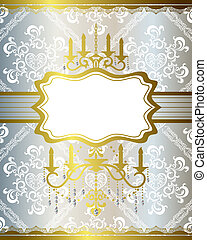 Chandelier gold and silver frame