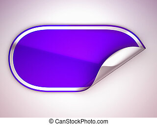 Purple rounded bent sticker or label over grey spot light...