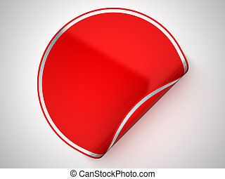 Red round sticker or label over grey spot light background