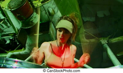 Active Drummer - Beautiful girl in a cap sits and plays...
