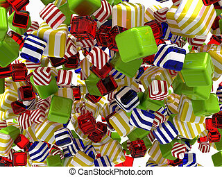 Colorful Abstract cubic shapes or bonbons isolated