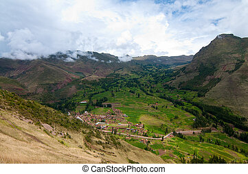 Mountain view, Pisac Peru - The picture of the valley in...