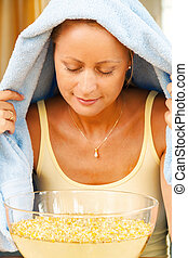 Woman with colds and flu - A young woman with colds and flu....