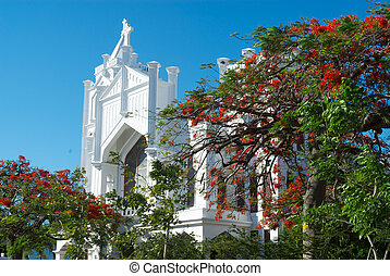 Beautiful white church located in Key West, Florida.