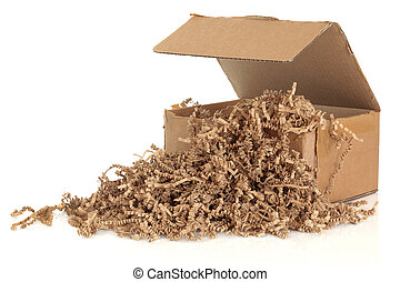 Cardboard Box and Filler - Cardboard shipping box with...